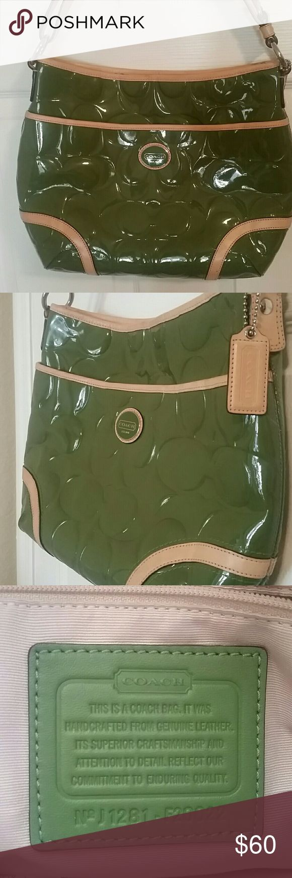 COACH green shoulder bag Almost new, great condition, medium size Coach Bags Shoulder Bags