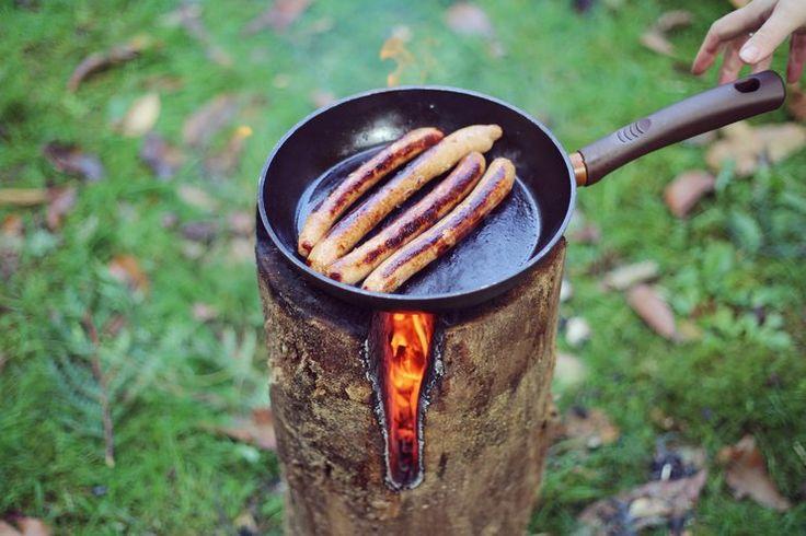 Une vraie plaque chauffante pour vos futurs barbecues !  Pr�sentation d'une technique pour faire un feu � l'int�rieur d'une b�che.