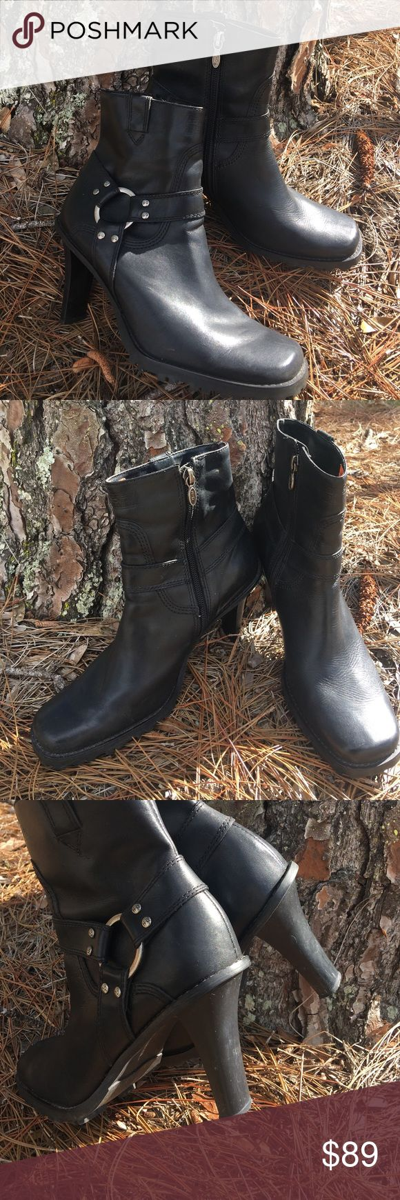 "Harley Davidson Black Mid Calf Leather Boots Black Square toe Chic Harley boots with silver hardware and 4"" heel with inside zipper. Great Condition Harley-Davidson Shoes Heeled Boots"