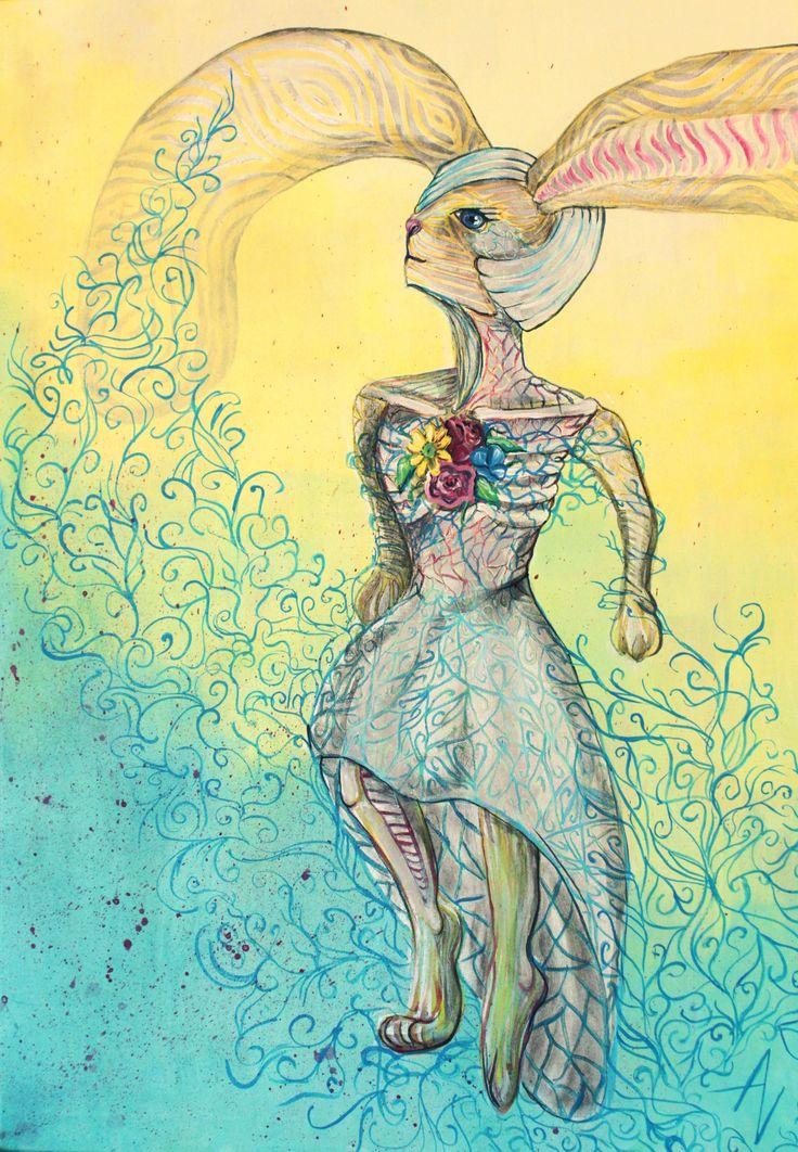 Belong - rabbit art - nature - flowers - ornaments