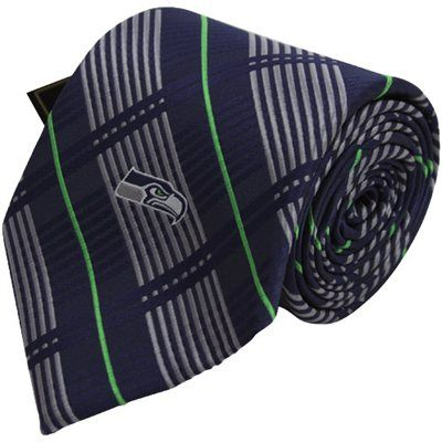 Seattle Seahawks Plaid Woven Tie - College Navy/ Neon Green