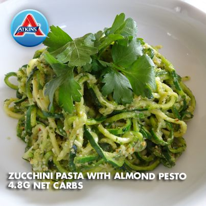 Zucchini Pasta with Almond Pesto is a great substitute for regular pasta and a satisfying way to get your veggies in! Good for Phases 2-4.