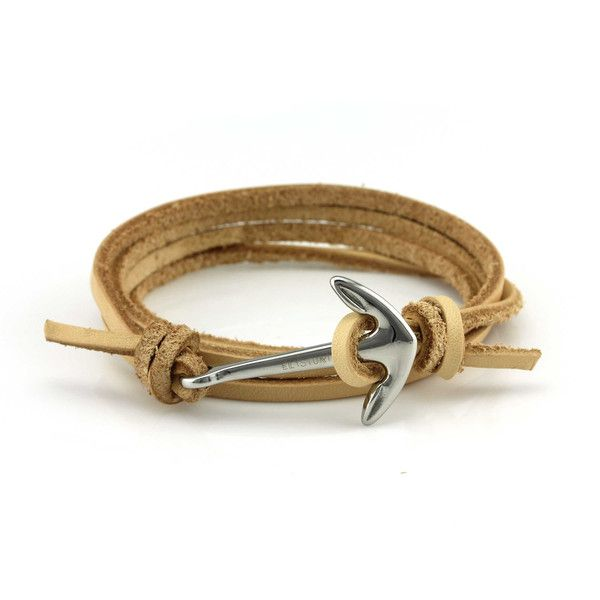 Tan Leather Anchor Bracelet