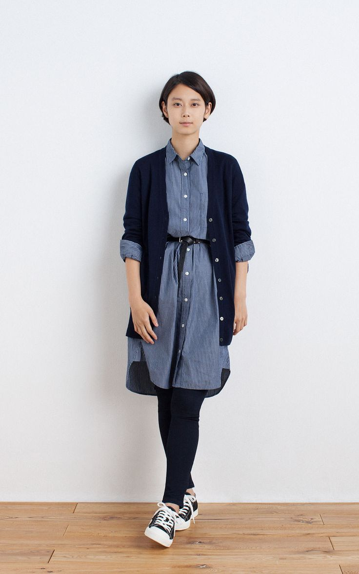 MUJI | OGC WASHED STRIPE DRESS | OGC STRETCH CORDUROY SKINNY ANKLE LENGTH TROUSERS | WATER REPELLENT ORGANIC COTTON SNEAKERS