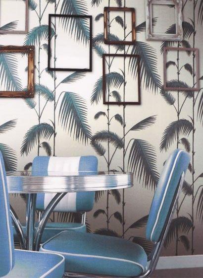Tapete Palm Leaves - Designtapete von Cole and Son : Leere Bilderrahmen über Tapete