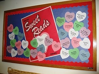 Sweet Reads By Lisa Stofac --- For this lovely display Lisa has made a giant Sweethearts candy box and put hearts with book titles all over the board.