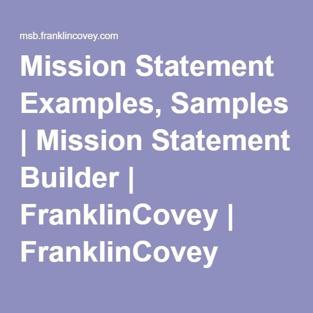 personal mission statement builder covey