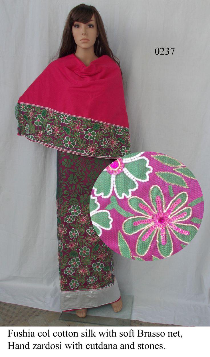 Fushia col cotton silk with soft brasso net, Heavy  Hand zardosi work with cutdana and stones
