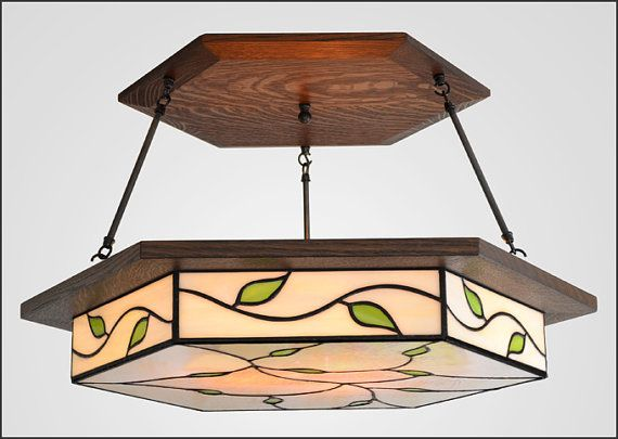 Craftsman Chandelier Art Nouveau Style - Lighting Fixture - Extra Large Size