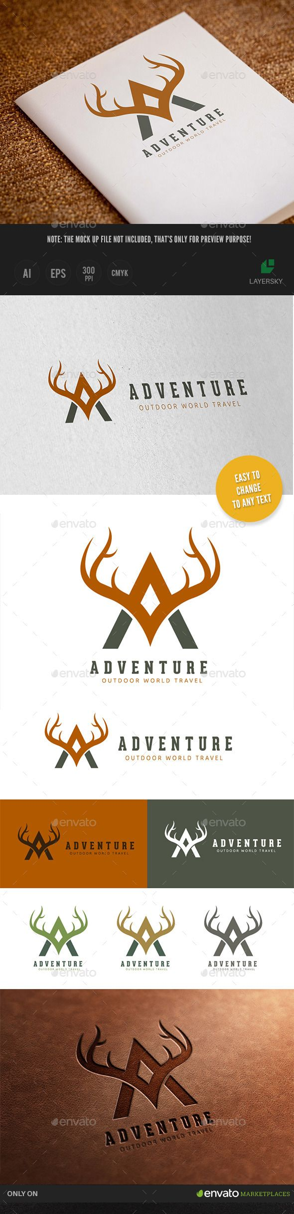 Outdoor Adventures Logo — Vector EPS #team #deer • Available here → https://graphicriver.net/item/outdoor-adventures-logo/11765458?ref=pxcr
