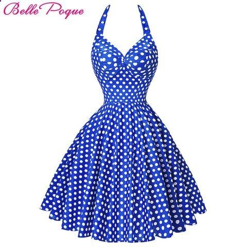 Women Summer Beach Dress Pin Up Retro Vintage 50s 60s Big Swing Polka Dot Rockabilly Dresses