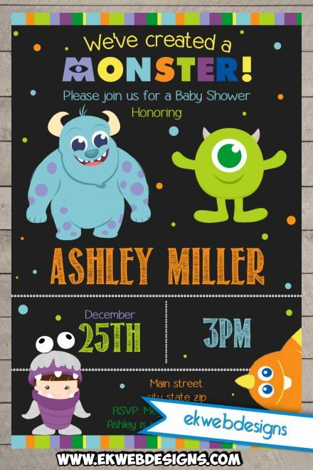 Printable Custom Monster Inc. Baby Shower Invitations