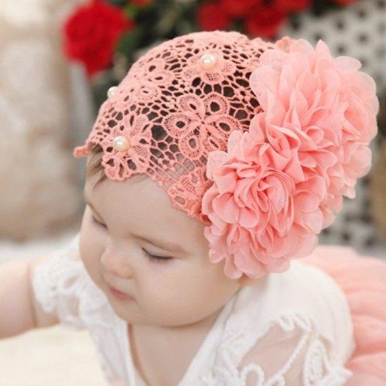 2016 Fashion Cute Flower Pearl Decorate Hair Headband for Baby Hollow Elastic…