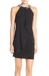 Adrianna Papell Beaded Chiffon Overlay Jersey A-Line Dress