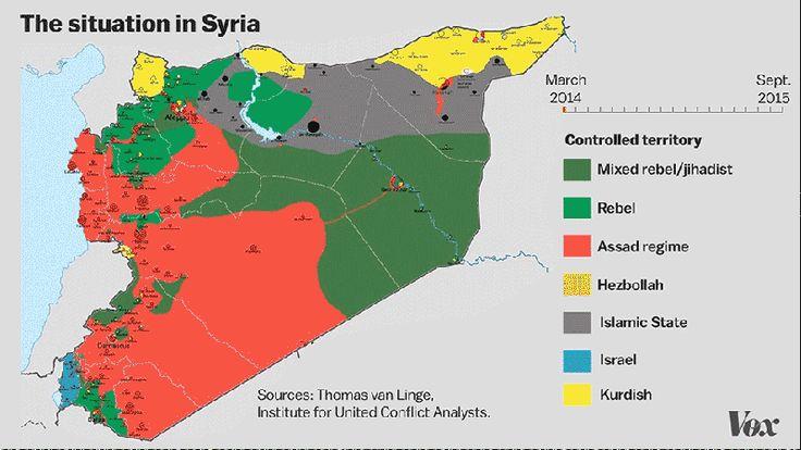 Animación #GIF de cambios en el mapa actual de #Siria