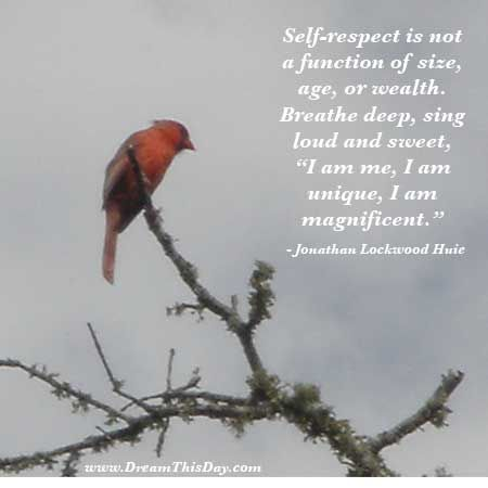 "Self-respect is not a function of size, age, or wealth. Breathe deep, sing loud and sweet, ""I am me, I am unique, I am magnificent."" - Jonathan Lockwood Huie"