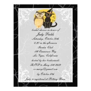 Looking for some cute last-minute Halloween bridal shower invites, like this adorable vintage-look one? Follow this link to Seasonal Showers.