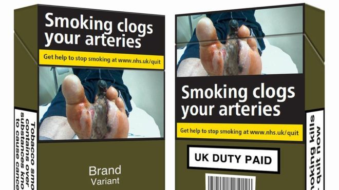 New rules have come into force which mean cigarettes and tobacco must be sold in plain green packets and carry graphic health warnings.