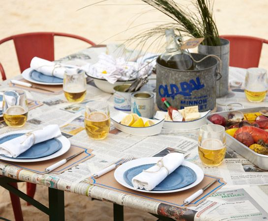 One-Pot Lobster Party  Trade the formal white tablecloth for no-frills newspaper, add sand and surf, and you've got the perfect conditions for a Cape Cod-style lobster boil