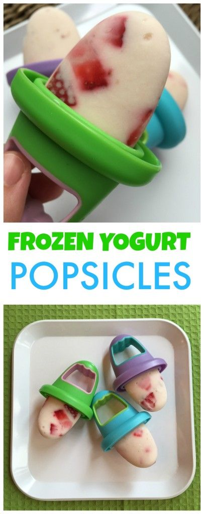 Frozen Yogurt Popsicles perfect for snacktime!  Listed are a few different fruit & yogurt combinations you can try. @MomNutrition