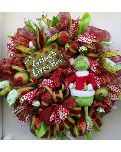 Led Light up grinch Christmas Wreath , Handmade sign and ornaments all custom made by me.