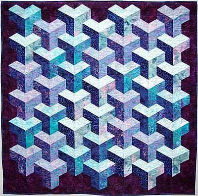 Quilt illusions | Quilt Inspiration: Tumbling blocks... more illusions