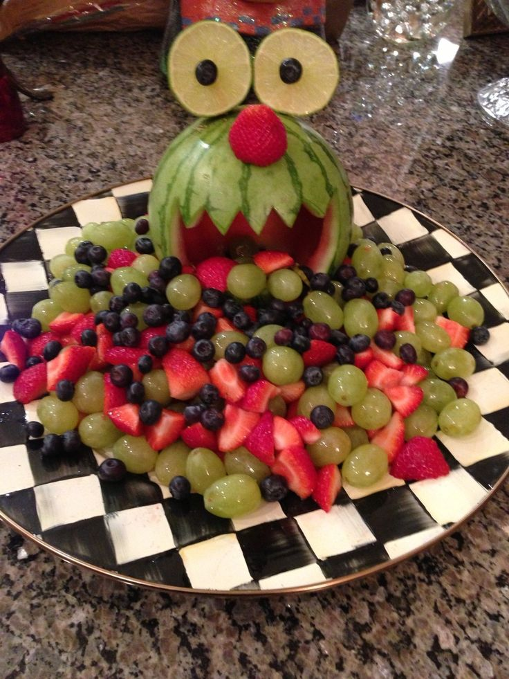 Monster fruit tray for school Halloween party - monster melon
