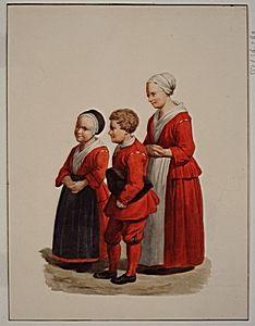 Kleding van de Burgerwezen in 1731. Naar een allegorisch schilderij van A. van der Burg, 1731. De jongens droegen een rode rok, broek en kousen, met witte das en steekhoed; de meisjes, droegen een rode jak en rok met witte halsdoek, voorschoot en muts. Met wijziging van snit is deze rode kleding in gebruik gebleven tot 1847. J. Rutten 1871 - Regionaal Archief Dordrecht #wezen #ZuidHolland #Dordrecht #burger