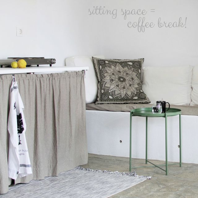 small country kitchen, concrete sofa, a traditional house at the island with a new basic kitchen • the Round Button blog