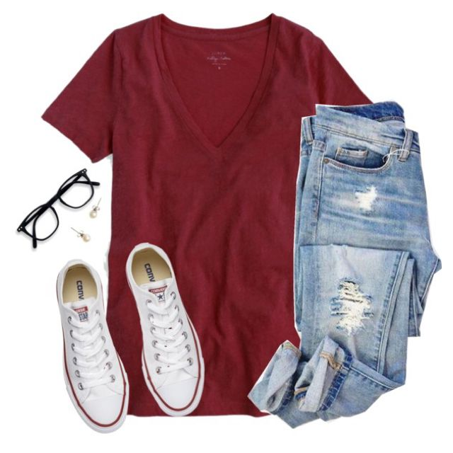 J.crew v neck tee, ripped jeans & chucks