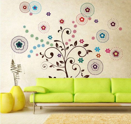 Removable Vinyl Blossom Tree Wall Decal Blossom Wall Art Tree Wall Sticker - Lucky tree by CustomWallDecal on Etsy, $29.98