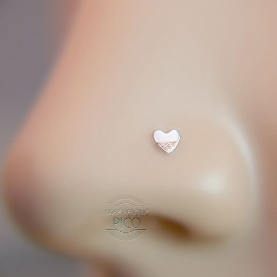 Nose Stud tiny heart Customize Sterling Nose ring, nose hoops, nose pins,16 gauge,18 gauge,20 gauge,21gauge,nose piercing,
