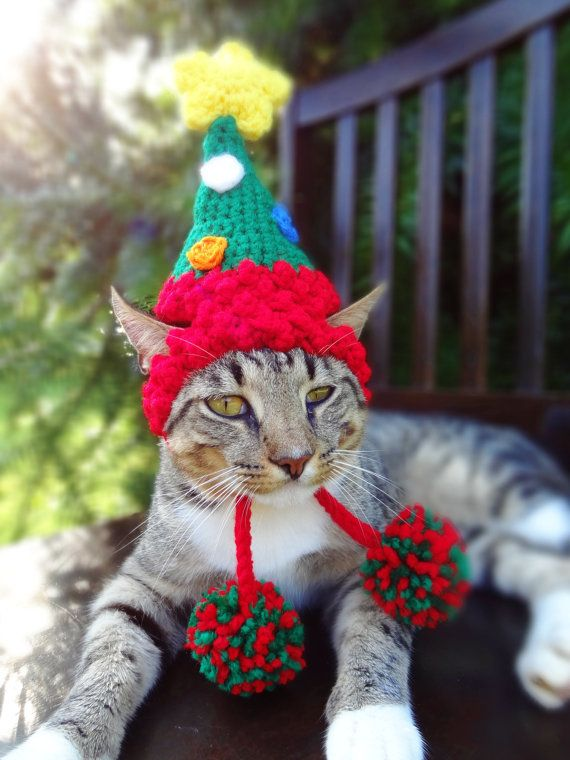 I want this for my Kitties...Christmas Cat Costume Hat - The Christmas Tree Hat for Cats and Small Dogs - Christmas Costume for Pets