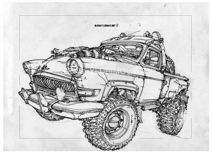 #газ21 pick-up. /Author Aleksey Lubimov. #alekseylubimov_art #алексейлюбимовбиомеханика #алексейлюбимов #стимпанк #дизельпанк #биомеханика #marchofrobots #steampunk #dieselpunk #biomechanical #lineart #engine #motor #inktober2018 #technodoodling