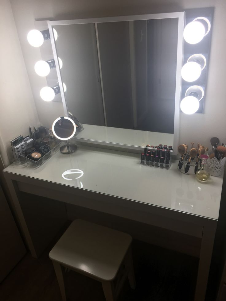 Hollywood Vanity Under $300: Ikea Malm Vanity, Ikea Mirror, Walmart  Bathroom Light Bars | Dream House | Pinterest | Bathroom Light Bar,  Hollywood Vanity And