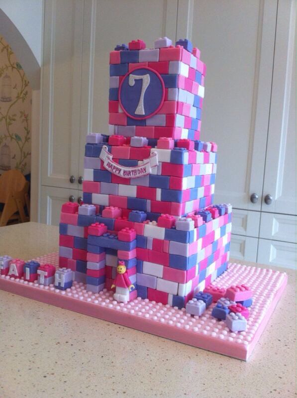 Lego Friends castle cake