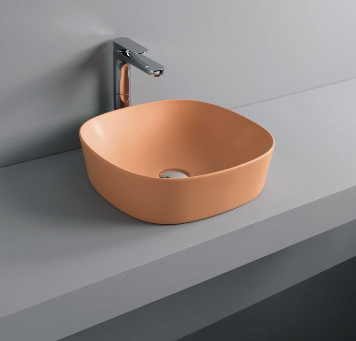 GHOST countertop washbasin orange #bathroom #TheArtceram  - Thin-rim washbasins