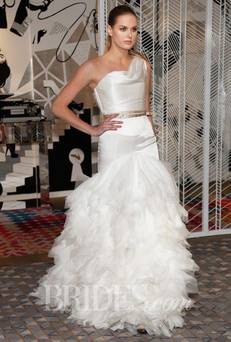 """Brides.com: Della Giovanna - Fall 2014. """"Britton"""" satin skirt and """"Aubrey"""" corset with gold leather belt, Della Giovanna"""