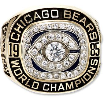1985 Chicago Bears Super Bowl Fan Ring  18k Gold Plated Walter Payton