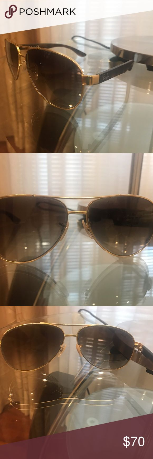 Ray Ban AVIATOR Matte Satin Gold Havana Tortoise B Great condition. Worn only a couple times Ray-Ban Accessories Sunglasses