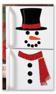 snowman on the fridgewould have to make a silver snowman. But this is cute.