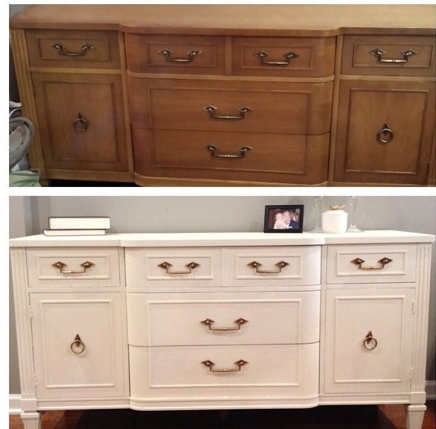 antique vintage shabby chic off white buffet dresser changing table with gold hardware. Black Bedroom Furniture Sets. Home Design Ideas