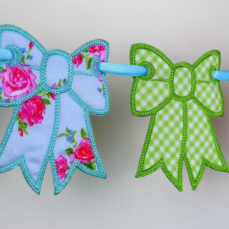 """Bow Bunting In The Hoop Project Machine Embroidery Design Applique Patterns all done ITH 4 sizes 4"""", 5"""", 6"""" and 7"""". $4.95, via Etsy."""