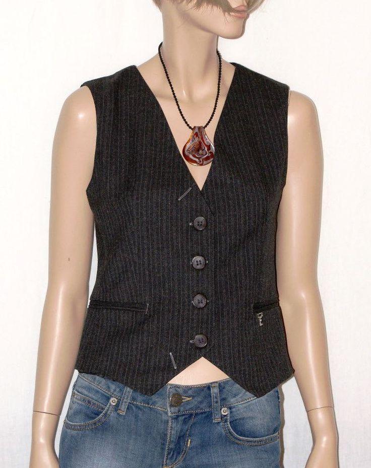 Retrò & Classic Woman Grey Waistcoat Vest Pinstripe Size M Branded EXTASY Gilet da Donna Gessato Grigio Taglia 44  Made in Italy di BeHappieWorld su Etsy