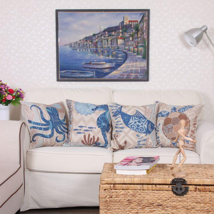 Heiße art und weise baumwolle kissen auto sofa kissen Dekorative Kissen Abdecken Mediterranen stil octopus sea turtle 45*45 cm