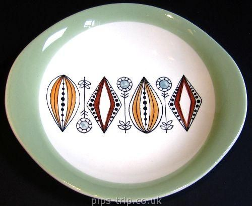 SOLD POTTERY ARCHIVES : Scandinavian Pottery 1 : Egersund (Norway) Stylised 1950's Design Oval Plate