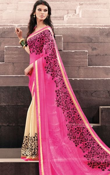 Picture of Delicate Pink and Off White Color Saree with Lace Border