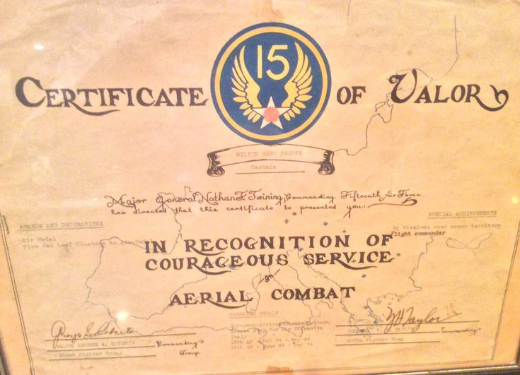 Captain Milton R. Brooks served with the 302nd Fighter Squadron. On October 12, 1944, Brooks, along with five other Tuskegee Airmen, shot down a total of nine enemy aircraft while strafing railroad traffic from Budapest to Bratislava. He earned the Distinguished Flying Cross for his aerial victory. This Certificate of Valor denotes the Air Medal with Five Oak Leaf Clusters he received for his 82 missions over enemy territory.