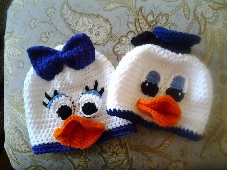 Daisy and Donald Duck crochet hats