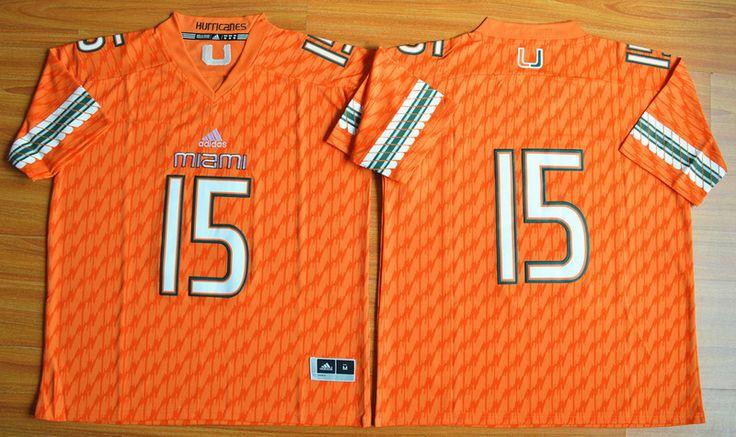 Men's NCAA Miami Hurricanes #15 Brad Kaaya Orange Jersey